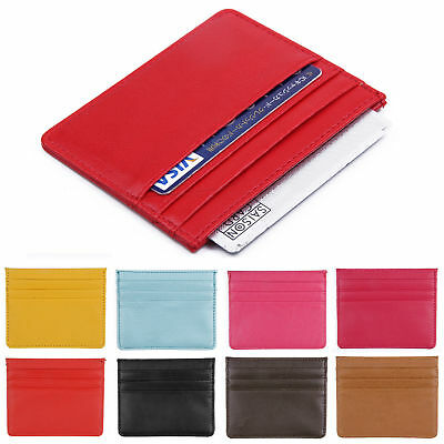 Men Womens PU Leather Small Id Credit Card Wallet Holder Slim Pocket Case
