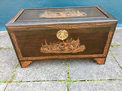 Oriental camphor wood trunk - chest - box with carved detailing #1954LC