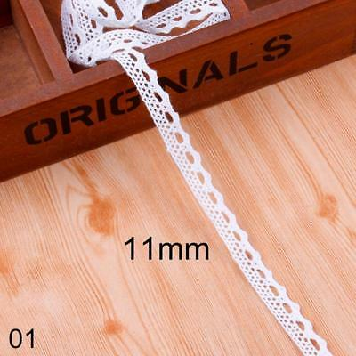 5Yards White Cotton Ribbon Lace Trimming Vintage Embroidered Sewing