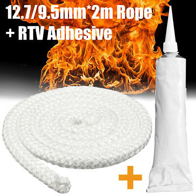 2M12.7mm/9.5mm Wood Fire Stove & Heater Rope Seal Fibreglass With RTV Adhesive