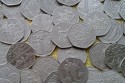 United Kingdom Fifty Pence 50P Coins Various Designs (Circulated) FREE POST