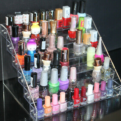6 Tier Clear Acylic Nail Polish Varnish Display Stand Holder Cabinet UK