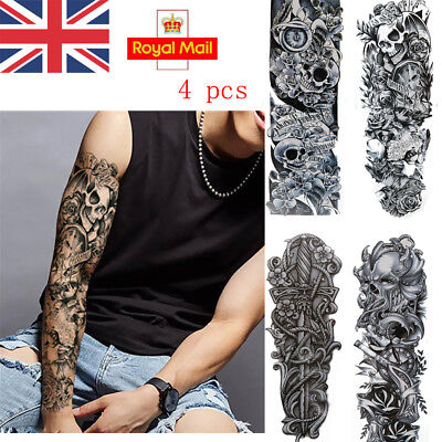 UK 4 Sheets Removable Extra Large Flower Temporary Tattoos Sticker Arm 3D Men