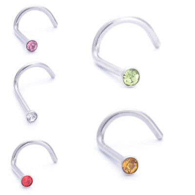 Surgical Stainless Steel Nose Ring Nose Hoop Piercing Crystal Gem Hypoallergenic