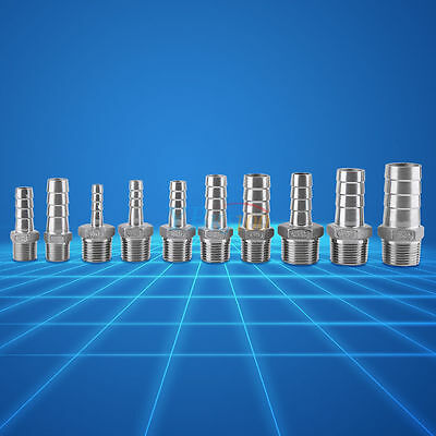"""Stainless 3/4"""" 1/2"""" 3/8"""" 1/4"""" Male Thread Pipe Fittingx Barb Hose Tail Connector"""