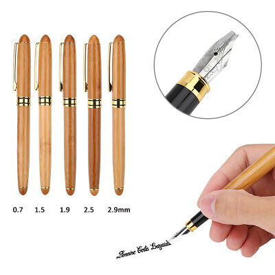 Bamboo Rod Calligraphy Art Fountain Pen Broad Stub Chisel-pointed Nib Writing