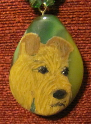 Irish Terrier hand painted on green teardrop Agate pendant/;bead/necklace