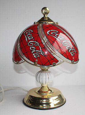 Vintage Coca Cola Coke Touch Lamp Light Table Stained Glass Looking Swirl Gold