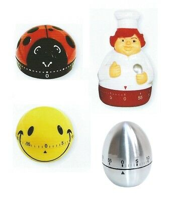 Chef/Smiley/Beetle Egg Shaped Timer 60 minutes Timer Kitchen Cooking Alarm Clock