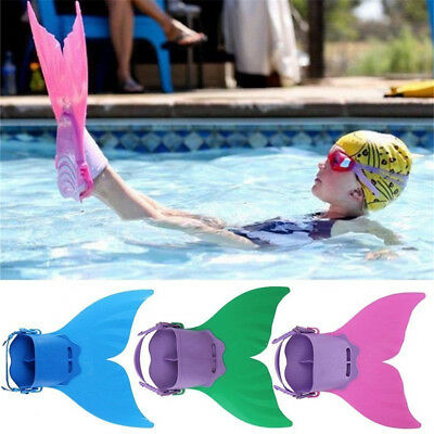 Kids Children Fin Mermaid Monofin Tail Flipper Swimwear Swimming Pool Tools BX