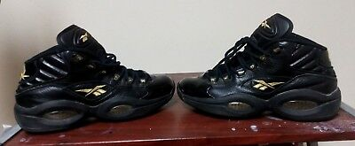 49129f4fdb5eb0 RARE Reebok Allen Iverson Question Mid Size 11 men Black and Gold V48294  shoes