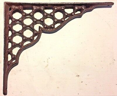 SET OF 4 LARGE HONEYCOMB LATTICE SHELF BRACKET BRACE Rustic Antique Brown Iron