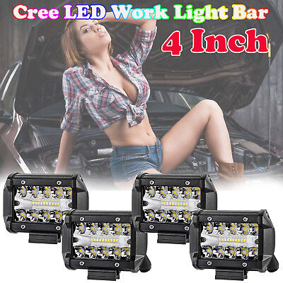 4inch CREE LED Work Light Bar SPOT FLOOD Offroad 4x4 Driving Bars 12V Triple Row