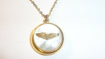 Vintage WWII Air Force Sweetheart Gold Filled MOP Locket Necklace