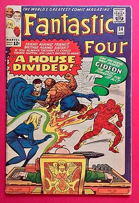 Fantastic Four #34 (1965)  Silver Age Marvel FF Classic! First Gideon!