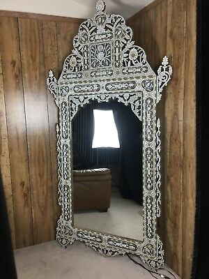 """Antique Syrian mirror 18th - 19th Century 97"""" inlaid mother of pearl"""