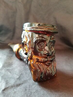 avon vintage brown glass manface pipe