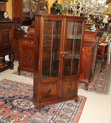 English Antique Oak Two Glass Door Tall Narrow Wooden Bookcase