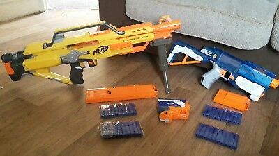 Nerf Stampede Retaliator Gun Bundle Great Condition With Mags And Stand New...