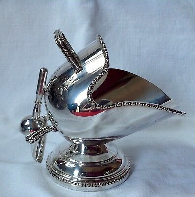 Antique Helmet Shape Sugar Bowl with Spoon. Silver Plated EPNS Vgc