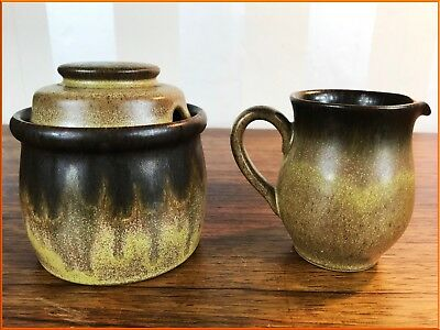Vintage Denby Romany Stoneware Preserve Jar Sugar Honey Milk Jug Set Pair