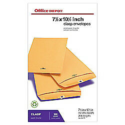 Office Depot(R) Brand Clasp Envelopes, 7 1/2in. x 10 1/2in., Brown, Box Of 100