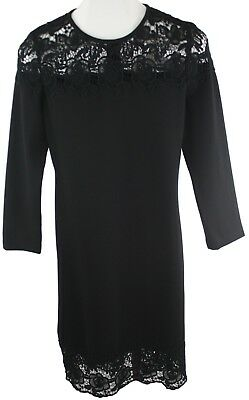 Magaschoni Womens Ladies Black Lace Zip Up Long Sleeve Shift Dress Size 6 NWT