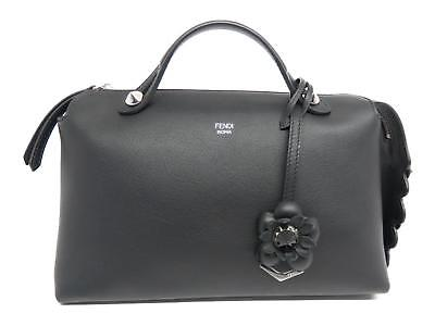 304eaf1fb375 Authentic FENDI Mini By the Way Flower Shoulder Hand Bag Black Leather  8BL124