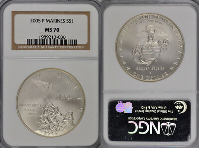 2005-P Ngc Ms70 Marine Corps Commemorative Dollar Coin !!! Flawless Grade !!!