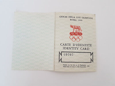 identity card roma 1960 olympic games Olympia Orginal
