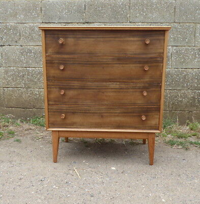 Vintage Retro Alfred Cox Quality Chest Of 4 Drawers Mid Century