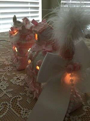 pink Easter romantic roses shabby cottage chic ceramic bunny train LIGHTS OOAK