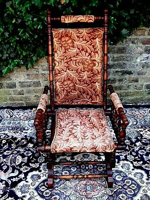 Rare Antique Victorian American Verandha Lounge Rocking Chair Sold  For Charity