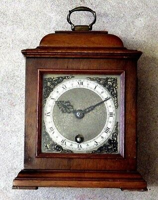 Vintage English 8 Day Brass Walnut Key Wind Mantel Clock Vgc For Nurses Charity