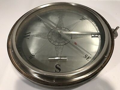 """Large Vintage Maritime Stainless Steel Compass Nautical Table Compass 14"""""""