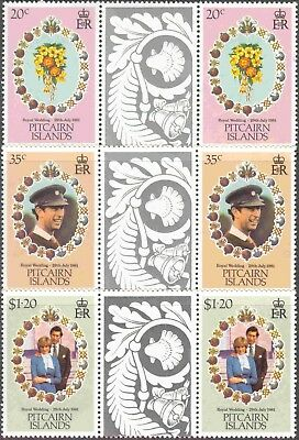 1981 Pitcairn Is. #206-8 Set of 3 MNH Royal Wedding Decorative Gutter Pairs
