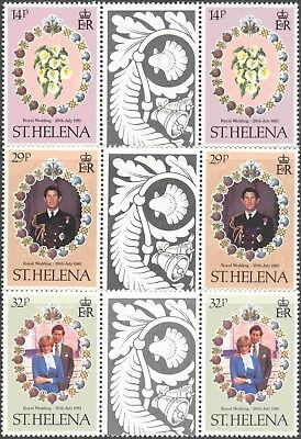 1981 St. Helena #353-5 Set of 3 MNH Royal Wedding Decorative Gutter Pairs