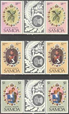 1981 Samoa #558-60 Set of 3 MNH Royal Wedding Decorative Gutter Pairs