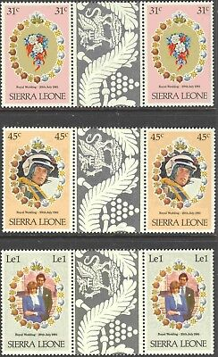 1981 Sierra Leone #509, #511, & #514 MNH Royal Wedding Decorative Gutter Pairs