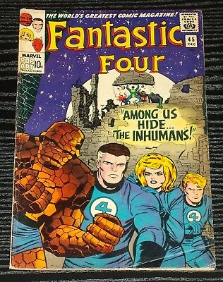 FANTASTIC FOUR vol 1 #45 vgfn 1st Inhumans marvel key 1965