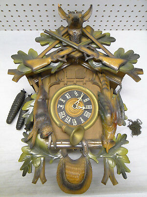 Vintage 3 Weight Driven Cuckoo Clock German Black Forest Carved Painted Wood
