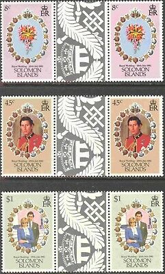 1981 Tristan da Cunha #294-6 Set of 3 MNH Royal Wedding Decorative Gutter Pairs