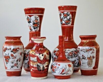 A selection of vintage oriental japanese vases x 6