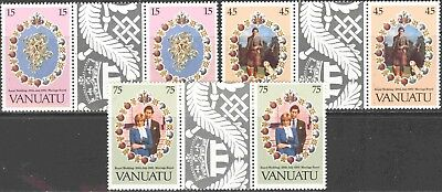 1981 Vanuatu #308-10 Omnibus Set of 3 MNH Royal Wedding Decorative Gutter Pairs