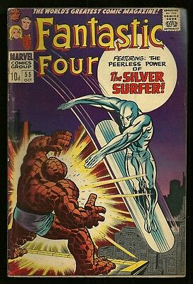 FANTASTIC FOUR vol 1 #54 vg+ 55 vgfn silver surfer marvel 1966