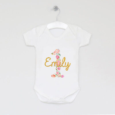 Personalised 1st Birthday Vest Outfit Tutu Cake Smash Gift Keepsake Floral First