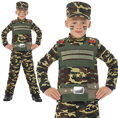 Camouflage Military Costume Army Uniform Boys Childrens Fancy Dress Outfit