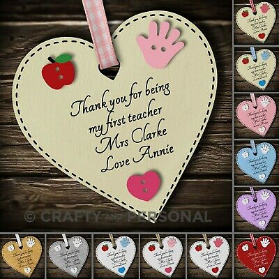 Personalised First Teacher gift plaque thank you present Primary School keepsake