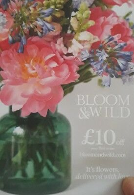 BLOOM & WILD £10 OFF COUPON VOUCHER valid on 1st order only