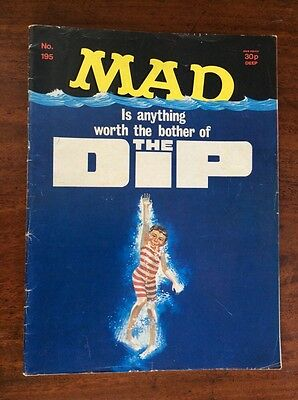 VINTAGE MAD MAGAZINE HUMOUR COMIC No. 195 JAWS SPOOF COVER